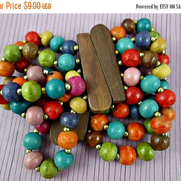 Vintage Multi Strand Colorful Wood Beads Beaded Stretch Bracelet in Very Good Condition Get Into the Groove Fun Versatile Boho Chic
