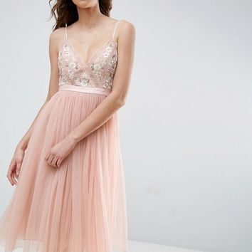 Needle and Thread Embroidered Tulle Midi Dress at asos.com