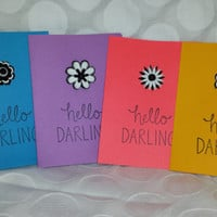 "Set of 4 Blank Note Cards (4 styles, 1 of each style) - ""Hello Darling"" - Blue, Purple, Red/Pink & Yellow Cards"