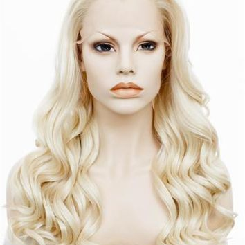 Christina Style Ash Blonde Wavy Long Synthetic Lace Front Wig