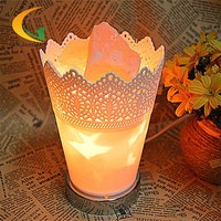 Salt lamp with modern creative bedside table lamp dimmer