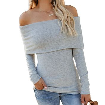 Off the Shoulder Solid Color Women Slim Sweater