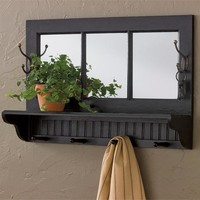 Southport Shelf With Hooks - Black