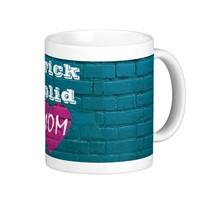 Pink Heart Turquoise Brick Solid Mom Mug