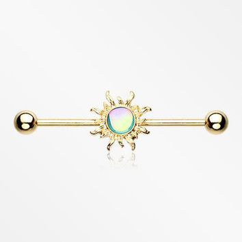 Golden Blazing Sun Industrial Barbell