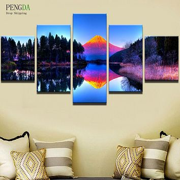 PENGDA Canvas Painting On The Wall Modular Pictures 5 Panel Colorful Landscape For Living Room Home Decor Frames On Canvas