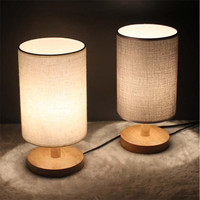 Modern Brief Europe Wood Linen led e27 Table Lamp Night Light for Restaurant Bar Bed Room Decor