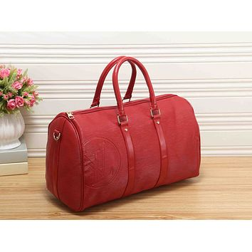 LV Fashion Women Pure Color Leather Zipper Luggage Travel Bags Tote Handbag Red I-RF-PJ