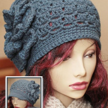 Ladie's 2-in-1 Eyelet Cloche Newsboy w/Large Flower Crochet PDF Pattern