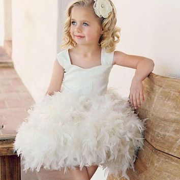 Little Girl Ivory Custom Feather Balloon Flower Girl Dress for weddings 2017 Lovely Ball Gown Baby Girl Infant Dress