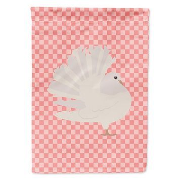 Silver Fantail Pigeon Pink Check Flag Garden Size