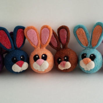 Needle Felted Bunny Jingle Bell Ball for Toddler, Custom Colours - MADE TO ORDER