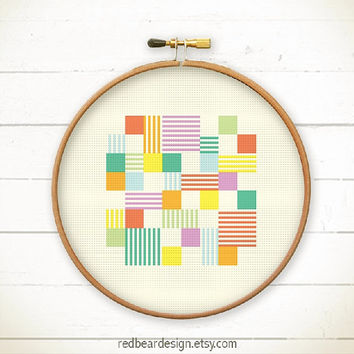 Modern Geometric Cross stitch pattern PDF - Play with Squares n Lines -Stitch Instant download - Abstract square line  Minimalist home deco