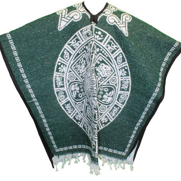 Heavy Mexican Poncho - Tribal 15 Green