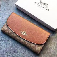 Coach High Quality Newest Popular Women Shopping Cowhide Buckle Wallet Purse