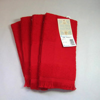 Needle Work, Cross Stitch, Red, Lot of 4 Fingertip Towels, DIY