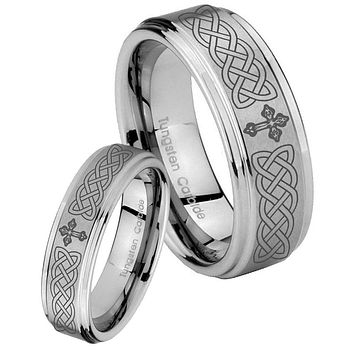 His and Hers Step Edge Celtic Cross Tungsten Silver Wedding Rings Set