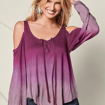 Ombre Cold Shoulder Top in Plum Multi | VENUS