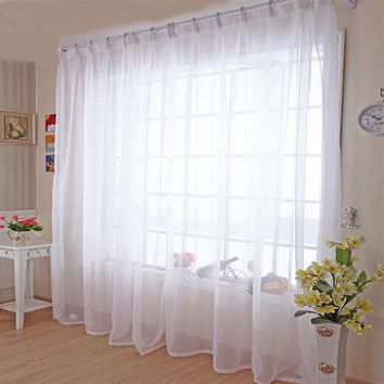 Modern Home Window Decoration White Sheer Voile Curtains