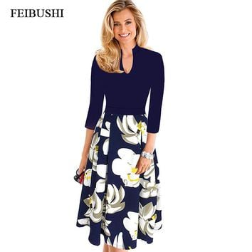 FEIBUSHI Womens Elegant Office Lady Autumn Dress Vintage V Neck Work Office Casual Party A Line Skater Dress Big size 4XL