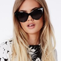 Missguided - Ozira Black Cat Eye Sunglasses