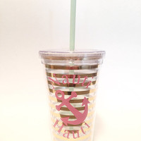 Anchor Nautical Tumbler - Nauti Hauti - Travel Cup - Gold - Pink - Aqua - Nauti Girl - Beach Theme