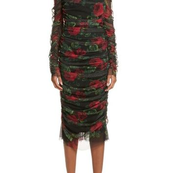 Dolce&Gabbana Rose Print Ruched Tulle Dress | Nordstrom
