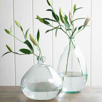 Tall Recycled Glass Balloon Floor Vase