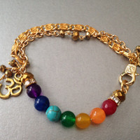 Seven Chakras   Om Bracelet,   Semi Precious  Gemstones   and gold plated chain. Perfect gift for someone special in your life.
