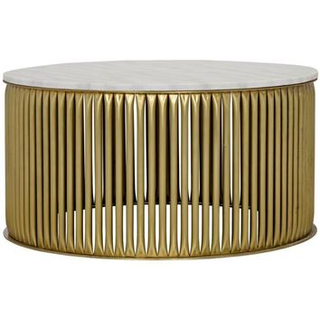 Xander  Coffee Table, Antique Brass, Metal and Stone