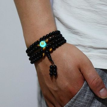 "108 Black Buddha Beads Handmade ""Glowing in the Dark"" Bracelet"
