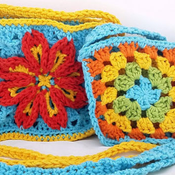Girl's Crochet Bag - Child's Purse - Crossbody Bag - Blue Bag - Small Bag - Gift for Girls - Set of two - collection - bundle