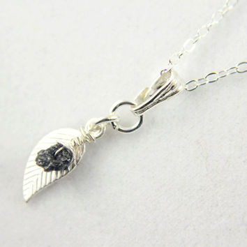 Rough Diamond Pendant Necklace with Leaf, Sterling Silver, Wire-Wrapped Black Raw Diamond
