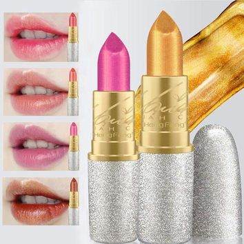 ESBONHC 2017 New Fashion Glitter Lip Color Cosmetics Waterproof Makeup Pigment Nude Pink Long Lasting Gold Shimmer Lipstick Kit