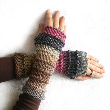 Fingerless gloves mittens, Long wool fingerless glove, Boho fingerless gloves, Knit fingerless glove, Multycolored fingerless arm warmer