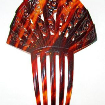 "Deco Tortoise Shell Hair Comb Brown Celluloid Material BIG 6"" X 5"" Ladies Vintage  Accessories"
