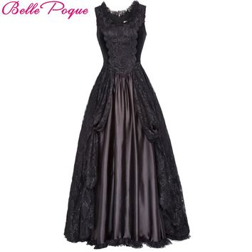 Belle Poque  Medieval Long Dress Black Lace Satin Sleeveless Maxi