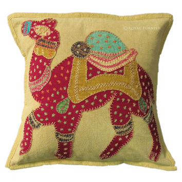 """16"""" Yellow Rajasthan Camel Patchwork Embroidered Cushion Pillow Throw Cover India Vintage Decor Art"""