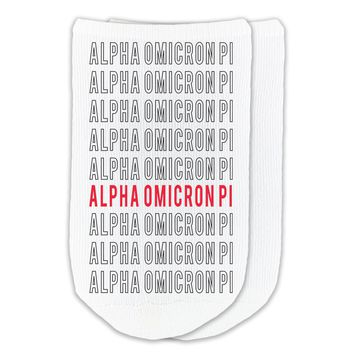 Alpha Omicron Pi - Repeat Sorority Name on No-Show Socks