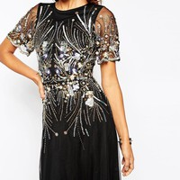 ASOS Petite | ASOS PETITE RED CARPET Gold And Black Sparkle Mesh Maxi Dress at ASOS