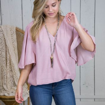 Flutter Sleeve Wrap Top, Light Mauve