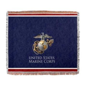 Red white Blue EGA Woven Blanket> Field of Dress Blue> Marine and Military Store