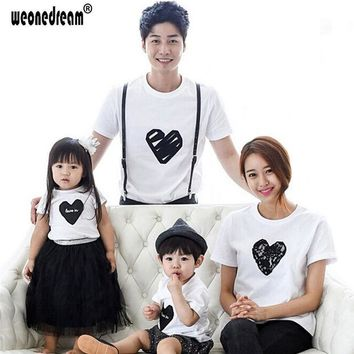 ONETOW WEONEDREAM 2016 Summer Matching Family Clothing Outfit Love Printed Short Sleeve T Shirt For Mom Father Kids Hot Fashion Tees