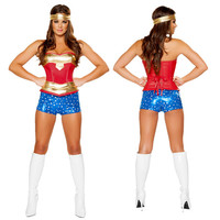 Sexy Super Hero Costumes Adult Ladies 3Pcs American Wonder Woman Fancy Dress Up Uniform Plus Size Halloween Cosplay Outfit XXL