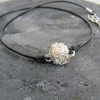 Simple choker thin, Geometric cube necklace, Black leather lace and silver wire wrap, Everyday Jewelry for Women, Boho Engagement Gift