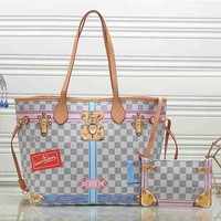 Louis Vuitton Fashion New Women Leather Satchel Shoulder Bag Handbag Crossbody Two Piece Set