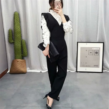 Women's Fashion Summer Korean V-neck Shaped Ruffle Stylish Pants Jumpsuit [4920283972]