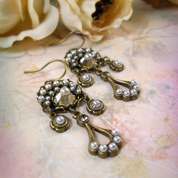 Eclipse Mosaic Pearl Earrings - Vintage Style Bride Bridal Bridesmaid, Gatsby Wedding, Paris, Roaring 1920s, Deco, Flapper, Edwardian