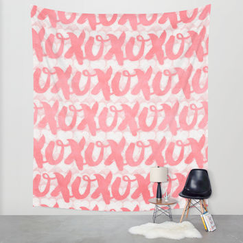 xoxo (pink) Wall Tapestry by Noonday Design