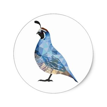 Geometric Quail in Blue Classic Round Sticker